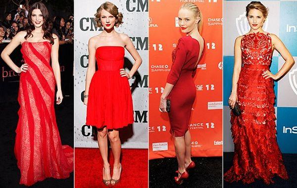 crvena haljina i crveni karmin