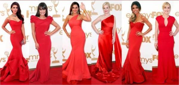 crvena haljina i frizura