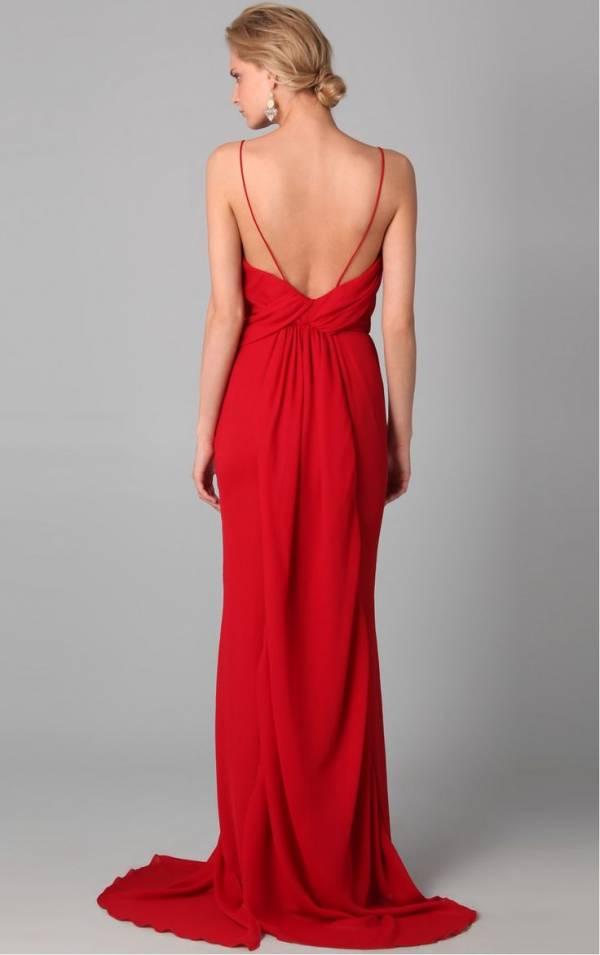 crvene haljine gola ledja