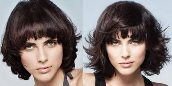 Crna stepenasta frizura sa šiškama za kosu srednje dužine