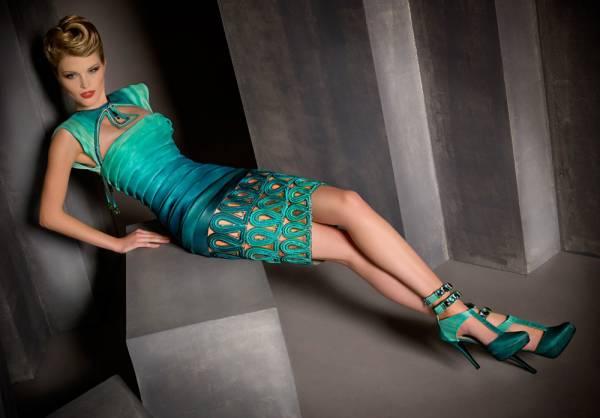 vecernja haljina tirkiz