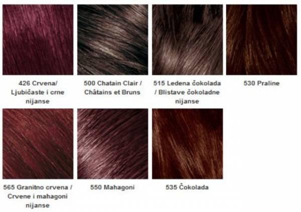 Omiljene Lorealove boje za farbanje kose su: braon, crvena, ombre, plava, smedje nijanse, plave nijanse, pepeljasto plava, zlatna čokolada