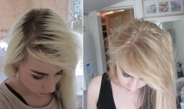 Kosa pre i posle nanošenja preliva za kosu.
