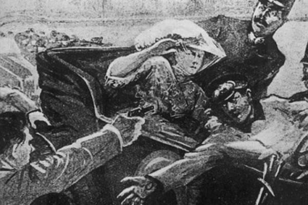 Ilustrovana slika koja prikazuje atentat u Sarajevu.