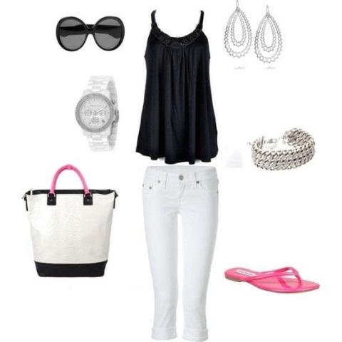 Bele pantalone i crna majica
