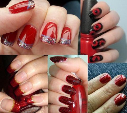crveni nokti sa sarama i cirkonima