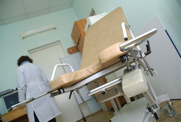 the equipement of gynecologist room in the hospital