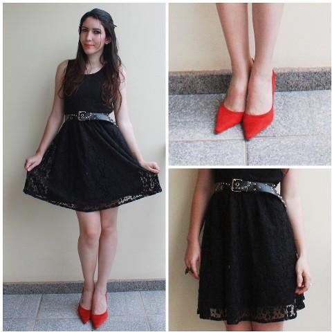 crna haljina crvene cipele