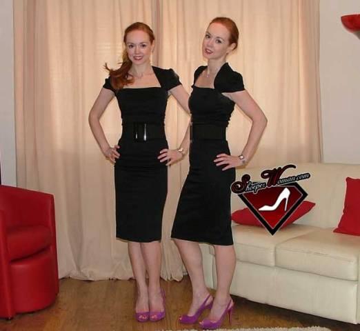 crna haljina ljubicaste cipele
