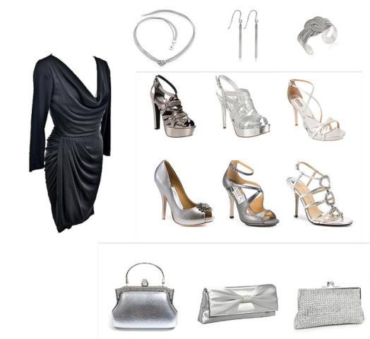 crna haljina srebrne cipele