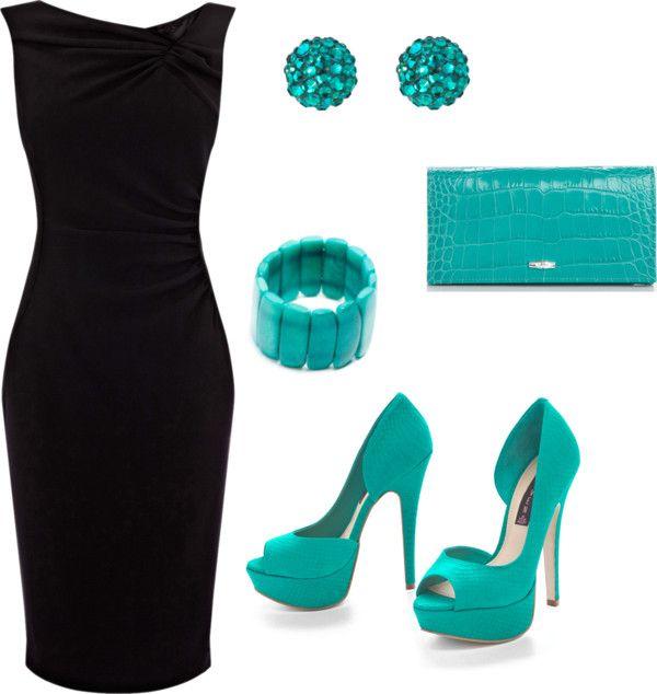 crna haljina tirkizne cipele