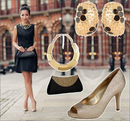 crna haljina zlatne cipele