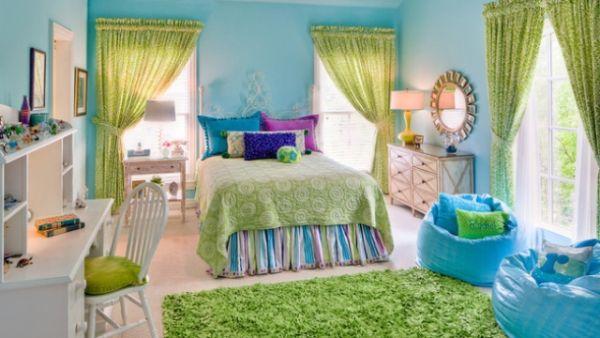tirkizna i zelena spavaca soba