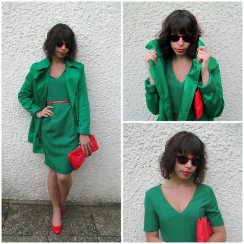 zelena haljina i crvene cipele