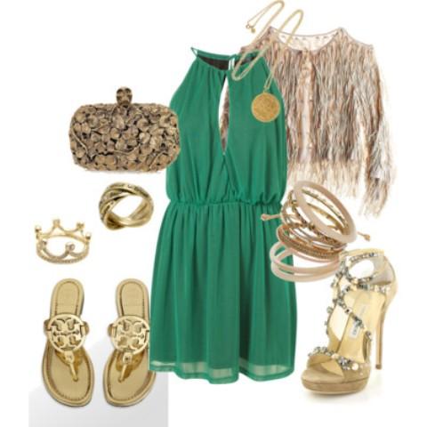 zelena haljina i zlatne cipele
