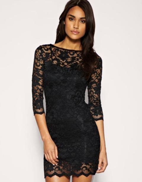 uske, kratke, crne čipkaste haljine