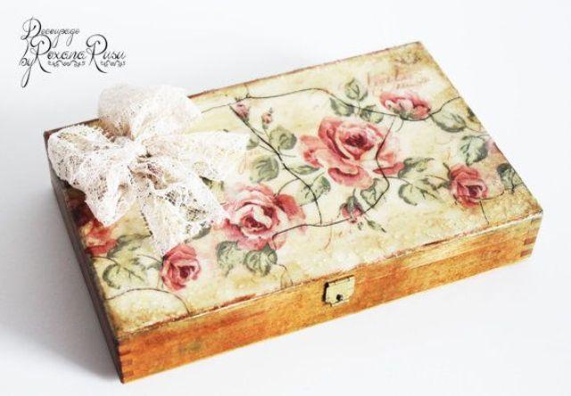 drvena kutija za poklone dekupaž 2